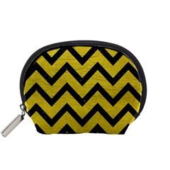 Chevron9 Black Marble & Yellow Leather Accessory Pouches (small)