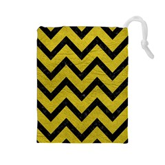 Chevron9 Black Marble & Yellow Leather Drawstring Pouches (large)