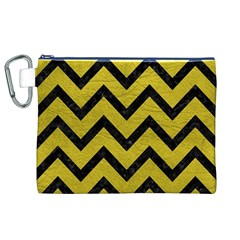 Chevron9 Black Marble & Yellow Leather Canvas Cosmetic Bag (xl)