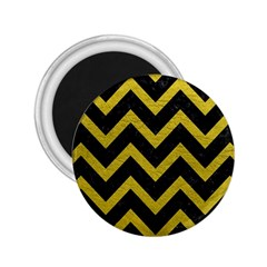 Chevron9 Black Marble & Yellow Leather (r) 2 25  Magnets