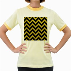 Chevron9 Black Marble & Yellow Leather (r) Women s Fitted Ringer T Shirts