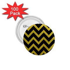 Chevron9 Black Marble & Yellow Leather (r) 1 75  Buttons (100 Pack)