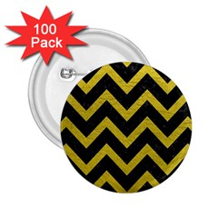 Chevron9 Black Marble & Yellow Leather (r) 2 25  Buttons (100 Pack)