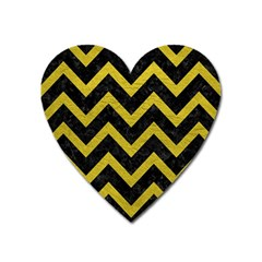 Chevron9 Black Marble & Yellow Leather (r) Heart Magnet