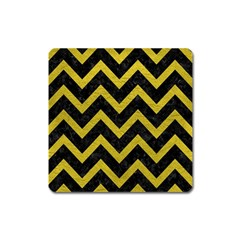Chevron9 Black Marble & Yellow Leather (r) Square Magnet