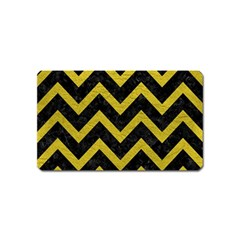 Chevron9 Black Marble & Yellow Leather (r) Magnet (name Card)