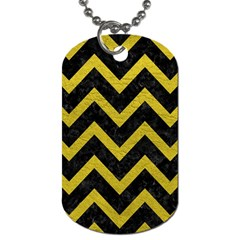 Chevron9 Black Marble & Yellow Leather (r) Dog Tag (two Sides)