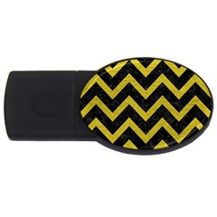Chevron9 Black Marble & Yellow Leather (r) Usb Flash Drive Oval (2 Gb)