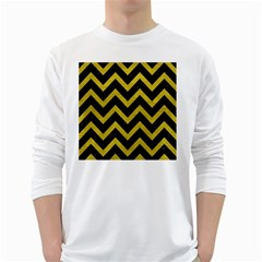 Chevron9 Black Marble & Yellow Leather (r) White Long Sleeve T Shirts