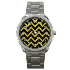 Chevron9 Black Marble & Yellow Leather (r) Sport Metal Watch