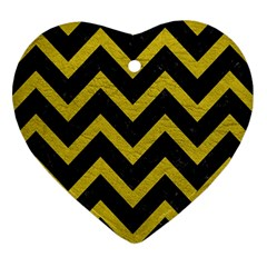 Chevron9 Black Marble & Yellow Leather (r) Heart Ornament (two Sides)