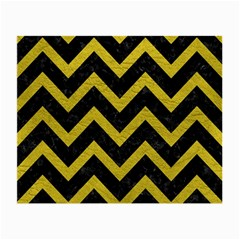 Chevron9 Black Marble & Yellow Leather (r) Small Glasses Cloth (2 Side)