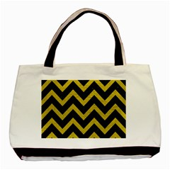 Chevron9 Black Marble & Yellow Leather (r) Basic Tote Bag (two Sides)