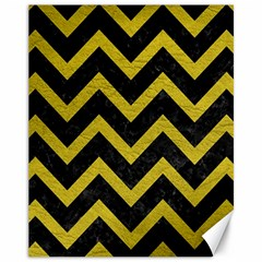 Chevron9 Black Marble & Yellow Leather (r) Canvas 11  X 14