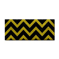 Chevron9 Black Marble & Yellow Leather (r) Cosmetic Storage Cases