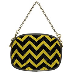 Chevron9 Black Marble & Yellow Leather (r) Chain Purses (one Side)