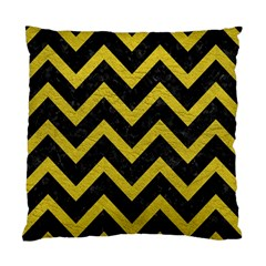 Chevron9 Black Marble & Yellow Leather (r) Standard Cushion Case (one Side)
