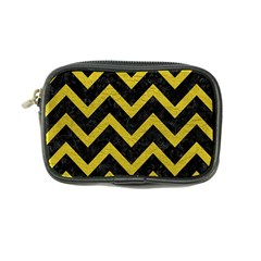 Chevron9 Black Marble & Yellow Leather (r) Coin Purse