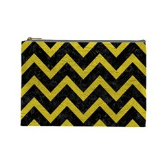 Chevron9 Black Marble & Yellow Leather (r) Cosmetic Bag (large)