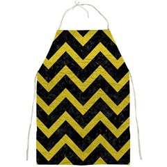 Chevron9 Black Marble & Yellow Leather (r) Full Print Aprons