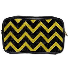 Chevron9 Black Marble & Yellow Leather (r) Toiletries Bags 2 Side
