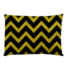 Chevron9 Black Marble & Yellow Leather (r) Pillow Case (two Sides)