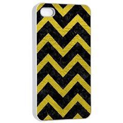 Chevron9 Black Marble & Yellow Leather (r) Apple Iphone 4/4s Seamless Case (white)