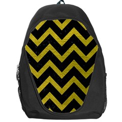 Chevron9 Black Marble & Yellow Leather (r) Backpack Bag