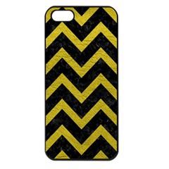 Chevron9 Black Marble & Yellow Leather (r) Apple Iphone 5 Seamless Case (black)