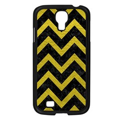 Chevron9 Black Marble & Yellow Leather (r) Samsung Galaxy S4 I9500/ I9505 Case (black)