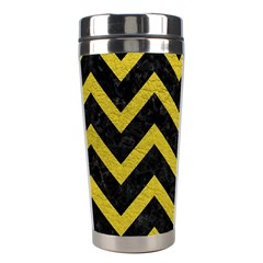 Chevron9 Black Marble & Yellow Leather (r) Stainless Steel Travel Tumblers