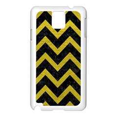 Chevron9 Black Marble & Yellow Leather (r) Samsung Galaxy Note 3 N9005 Case (white)