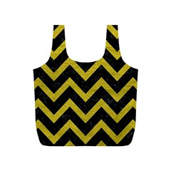 Chevron9 Black Marble & Yellow Leather (r) Full Print Recycle Bags (s)