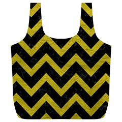 Chevron9 Black Marble & Yellow Leather (r) Full Print Recycle Bags (l)