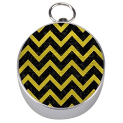 Chevron9 Black Marble & Yellow Leather (r) Silver Compasses