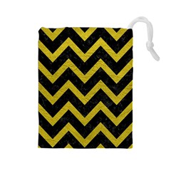 Chevron9 Black Marble & Yellow Leather (r) Drawstring Pouches (large)