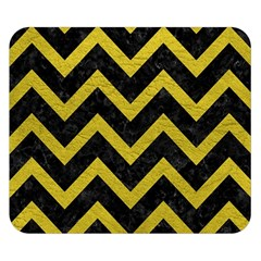 Chevron9 Black Marble & Yellow Leather (r) Double Sided Flano Blanket (small)