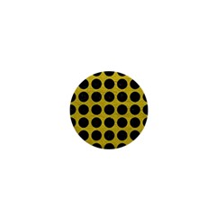 Circles1 Black Marble & Yellow Leather 1  Mini Buttons