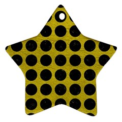 Circles1 Black Marble & Yellow Leather Ornament (star)