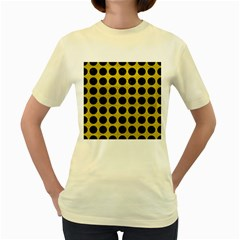 Circles1 Black Marble & Yellow Leather Women s Yellow T Shirt