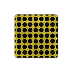 Circles1 Black Marble & Yellow Leather Square Magnet