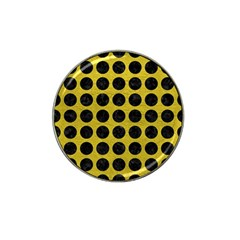 Circles1 Black Marble & Yellow Leather Hat Clip Ball Marker