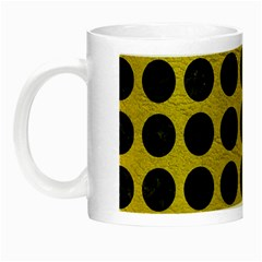 Circles1 Black Marble & Yellow Leather Night Luminous Mugs