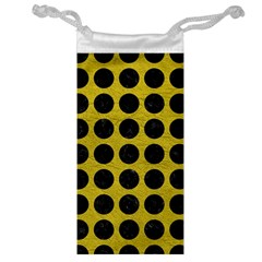 Circles1 Black Marble & Yellow Leather Jewelry Bag