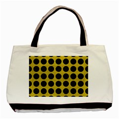 Circles1 Black Marble & Yellow Leather Basic Tote Bag