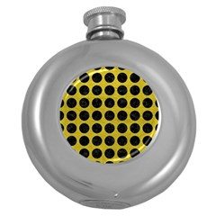 Circles1 Black Marble & Yellow Leather Round Hip Flask (5 Oz)