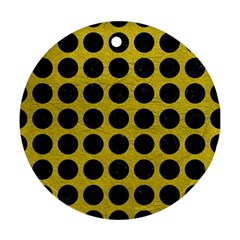 Circles1 Black Marble & Yellow Leather Round Ornament (two Sides)