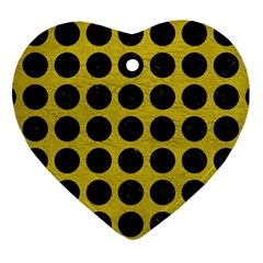 Circles1 Black Marble & Yellow Leather Heart Ornament (two Sides)