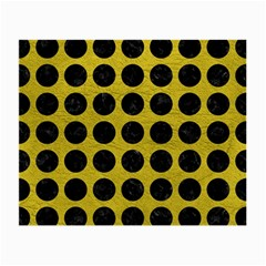 Circles1 Black Marble & Yellow Leather Small Glasses Cloth (2 Side)