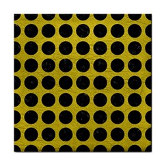 Circles1 Black Marble & Yellow Leather Face Towel